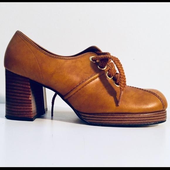 1970s Navy Platform Shoes Groovy Disco Era